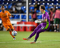 LAKE BUENA VISTA, FL - JULY 18: Steve Clark #12 of the Portland Timbers plays the ball away during a game between Houston Dynamo and Portland Timbers at ESPN Wide World of Sports on July 18, 2020 in Lake Buena Vista, Florida.