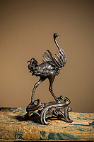 BNPS.co.uk (01202) 558833<br /> Pic: Cheffins/BNPS<br /> <br /> A 400-year-old ostrich sculpture which has been in the same private collection for almost two centuries has sold for £1.8m.<br /> <br /> The 15ins tall bronze sculpture had an estimate of £120,000, but sold for 15 times that, setting a new record for auctioneers Cheffins.<br /> <br /> It was produced from the workshop of celebrated Renaissance sculptor Giambologna in the late 16th or early 17th century and previously owned by 18th century politician and writer Horace Walpole.<br /> <br /> The sculpture was bought by the current owner's ancestor in 1842 for £50 and eight shillings - which equates to £3,000 in today's money.