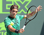 March 27 2017:  Roger Federer (SUI) defeats Juan Martin del Potro (ARG) by 6-3, 6-4, at the Miami Open being played at Crandon Park Tennis Center in Miami, Key Biscayne, Florida.