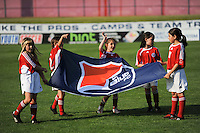 Flag girls. Sky Blue FC defeated the Boston Breakers 2-1 during a Women's Professional Soccer match at Yurcak Field in Piscataway, NJ, on May 31, 2009.