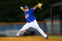 Kingsport Mets relief pitcher Dillon Becker (50) in action against the Elizabethton Twins at Hunter Wright Stadium on July 8, 2015 in Kingsport, Tennessee.  The Mets defeated the Twins 8-2. (Brian Westerholt/Four Seam Images)