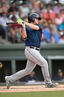 First baseman Dash Winningham (34) of the Columbia Fireflies bats in a game against the Greenville Drive on Wednesday, June 14, 2017, at Fluor Field at the West End in Greenville, South Carolina. Columbia won, 6-2, in 11 innings. (Tom Priddy/Four Seam Images)