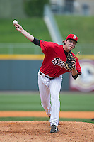 Birmingham Barons relief pitcher Kyle Hansen (33) in action against the Tennessee Smokies at Regions Field on May 4, 2015 in Birmingham, Alabama.  The Barons defeated the Smokies 4-3 in 13 innings. (Brian Westerholt/Four Seam Images)