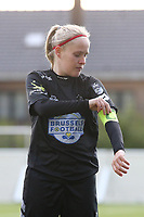 Jana Simons (8) of Woluwe pictured putting her captain armband before a female soccer game between Sporting Charleroi and White Star Woluwe on the 7 th matchday in play off 2 of the 2020 - 2021 season of Belgian Scooore Womens Super League , friday 14 th of May 2021  in Marcinelle , Belgium . PHOTO SPORTPIX.BE | SPP | Sevil Oktem