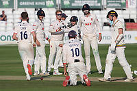 Simon Harmer of Essex celebrates with his team mates after taking the wicket of Tom Price during Essex CCC vs Gloucestershire CCC, LV Insurance County Championship Division 2 Cricket at The Cloudfm County Ground on 6th September 2021