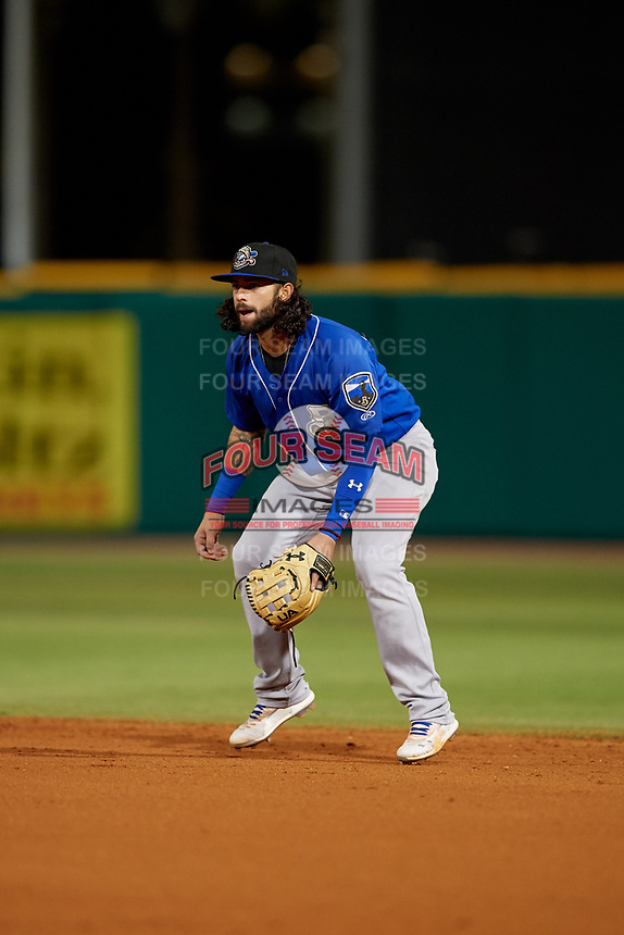 Biloxi Shuckers second baseman C.J. Hinojosa (3) during a Southern League game against the Pensacola Blue Wahoos on May 3, 2019 at Admiral Fetterman Field in Pensacola, Florida.  Pensacola defeated Biloxi 10-8.  (Mike Janes/Four Seam Images)