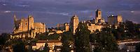 Europe/France/Poitou-Charentes/86/Vienne/Chauvigny:  La ville haute avec le Château Baronnial, le Château d'Harcourt, l'église Saint-Pierre et le Donjon du Château de Gouzon