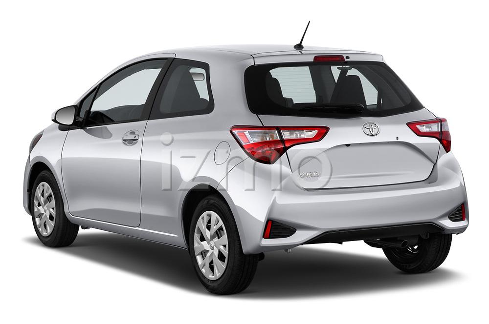 Car pictures of rear three quarter view of a 2018 Toyota Yaris L 3-Door Liftback 3 Door Hatchback angular rear