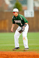 Charlotte 49ers second baseman Brad Elwood (2) on defense against the Virginia Commonwealth Rams at Robert and Mariam Hayes Stadium on March 30, 2013 in Charlotte, North Carolina.  The 49ers defeated the Rams 9-8 in game one of a double-header.  (Brian Westerholt/Four Seam Images)