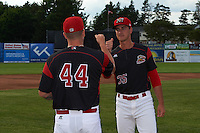 Batavia Muckdogs pitcher Connor Bach (35) Marcus Crescentini (44) during introductions before a game against the State College Spikes on June 22, 2016 at Dwyer Stadium in Batavia, New York.  State College defeated Batavia 11-1.  (Mike Janes/Four Seam Images)