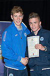 St Johnstone FC Youth Academy Presentation Night at Perth Concert Hall..21.04.14<br /> David Wotherspoon presents to Jamie MacDonald<br /> Picture by Graeme Hart.<br /> Copyright Perthshire Picture Agency<br /> Tel: 01738 623350  Mobile: 07990 594431