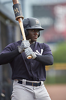 GCL Yankees West right fielder Jordan Scott (18) on deck during the first game of a doubleheader against the GCL Yankees East on July 19, 2017 at the Yankees Minor League Complex in Tampa, Florida.  GCL Yankees West defeated the GCL Yankees East 11-2.  (Mike Janes/Four Seam Images)