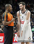 Real Madrid's Rudy Fernandez have words with the referee during Euroleague match.January 22,2015. (ALTERPHOTOS/Acero)