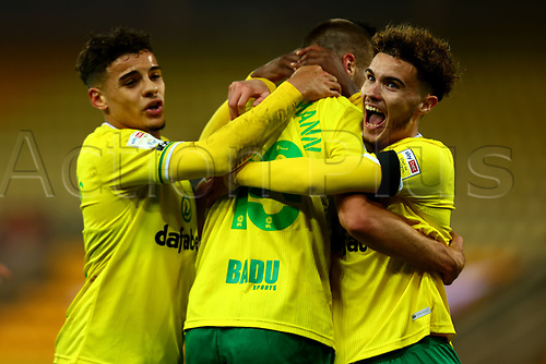 7th November 2020; Carrow Road, Norwich, Norfolk, England, English Football League Championship Football, Norwich versus Swansea City; Marco Stiepermann of Norwich City celebrates with Josh Martin and Max Aaron after he scores for 1-0 in the 84th minute