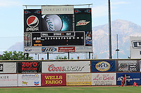 A view of the scoreboard at Lindquist Field prior to the Pioneer League game between the Orem Owlz and the Ogden Raptors on July 07, 2013 in Ogden Utah. (Stephen Smith/Four Seam Images)