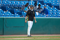 Pittsburgh Pirates scout Adam Bourassa coaches third base during the East Coast Pro Showcase at the Hoover Met Complex on August 5, 2020 in Hoover, AL. (Brian Westerholt/Four Seam Images)