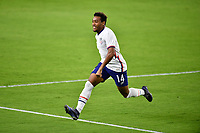 ORLANDO CITY, FL - JANUARY 31: Jonathan Lewis #14 of the United States scores a goal and celebrates during a game between Trinidad and Tobago and USMNT at Exploria stadium on January 31, 2021 in Orlando City, Florida.