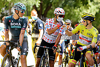 July 9th 2021. Carcassonne, Languedoc, France;  QUINTANA Nairo (COL) of TEAM ARKEA - SAMSIC & POGACAR Tadej (SLO) of UAE TEAM EMIRATES during stage 13 of the 108th edition of the 2021 Tour de France cycling race, a stage of 219,9 kms between Nimes and Carcassonne.