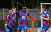 Christian Scales (left) of Crystal Palace & Connor Dymond (7) of Crystal Palace celebrate with goal scorer Fred Ladapo of Crystal Palace during the U21 Professional Development League match between Watford U21 and Crystal Palace U21 at Clarence Park, St Albans, England on 14 March 2016. (Watford 0 Crystal Palace 5). Photo by Andy Rowland.
