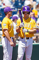 LSU Tigers shortstop Alex Bregman (8) before the NCAA College baseball World Series against the Cal State Fullerton on June 16, 2015 at TD Ameritrade Park in Omaha, Nebraska. LSU defeated Fullerton 5-3. (Andrew Woolley/Four Seam Images)