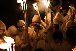 Festival-goers holding torch run down during Oto-matsuri festival at Kamikura-shrine in Shingu City, Wakayama Prefecture on Feb.6, 2020. The participants, called noboriko, run down the mountainside to pray for a family safety and good harvest. The festival, originated in 1400 years ago, (with a rule the rule that women are barred from the mountain on the day) takes place on February 6, every year. February 06, 2020 (Photo by Nicolas Datiche/AFLO) (JAPAN)