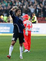 Goalkeeper Vladimir Stojkovic, from Partizan Belgrade,  celebrate, after match,  during the Serbian League soccer match in Belgrade, Serbia, Saturday, October  24, 2010. (Srdjan Stevanovic/Starsportphoto.com)