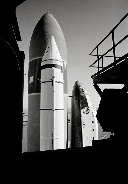 Image copyright John Angerson. <br /> STS-72 mission training.<br /> Space Shuttle Endeavour (OV-105) attached to the two Space Shuttle main engine (SSME) that burns cryogenic liquid hydrogen and liquid oxygen propellants. Each engine producing 1,859 kN of thrust at lift-off. <br /> Kennedy Space Centre, Florida, USA.