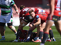 24th April 2021; Kingsholm Stadium, Gloucester, Gloucestershire, England; English Premiership Rugby, Gloucester versus Newcastle Falcons; Stephen Varney of Gloucester organises his team