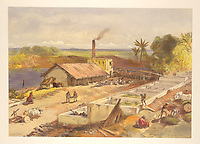 Sir John William Kaye.<br /> <br /> Indigo factory, Bengal. In this view, the plants (Indigofera tinctoria) were soaked in large tanks or vats of water to releasing their blue colour, and would then float to the top to be retrieved and dried, Chromolithograph.<br /> London: Day and Son, 1867.<br /> <br /> From: William Simpson, India, ancient and modern: a series of illustrations of the country and people of India and adjacent territories.<br /> X108 (38)<br /> London, British Library.