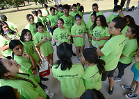 Students gather Thursday, Sept. 9, 2021, to organize before the start of the Tomatina, a tomato fight with historical roots in Spain, in Murphy Park in Springdale. Advanced placement Spanish language students from Springdale and Har-Ber high schools participated in the event. Visit nwaonline.com/210910Daily/ for today's photo gallery.<br /> (NWA Democrat-Gazette/Andy Shupe)