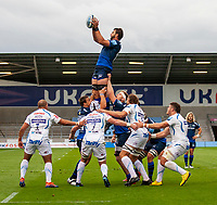 21st August 2020; AJ Bell Stadium, Salford, Lancashire, England; English Premiership Rugby, Sale Sharks versus Exeter Chiefs; Lood de Jager of Sale Sharks wins a line out