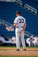 Staten Island Yankees relief pitcher Brooks Kriske (33) looks in for the sign during a game against the Lowell Spinners on August 22, 2018 at Richmond County Bank Ballpark in Staten Island, New York.  Staten Island defeated Lowell 10-4.  (Mike Janes/Four Seam Images)