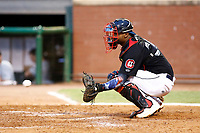 Brian Navarreto (20) the catcher for the Chattanooga Lookouts warms up the pitcher between innings of the game against the Montgomery Biscuits on May 26, 2018 at AT&T Field in Chattanooga, Tennessee. (Andy Mitchell/Four Seam Images)