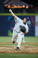 Kannapolis Cannon Ballers relief pitcher Tyson Messer (33) in action against the Fayetteville Woodpeckers at Atrium Health Ballpark on June 22, 2021 in Kannapolis, North Carolina. (Brian Westerholt/Four Seam Images)