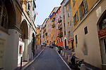 One of the narrow, steep streets in the old part of Nice, France