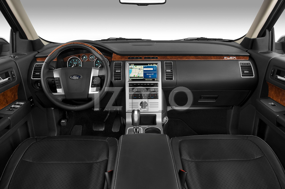 Straight dashboard view of a 2009 Ford Flex.