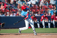 Spokane Indians right fielder Starling Joseph (39) swings at a pitch during a Northwest League game against the Vancouver Canadians at Avista Stadium on September 2, 2018 in Spokane, Washington. The Spokane Indians defeated the Vancouver Canadians by a score of 3-1. (Zachary Lucy/Four Seam Images)