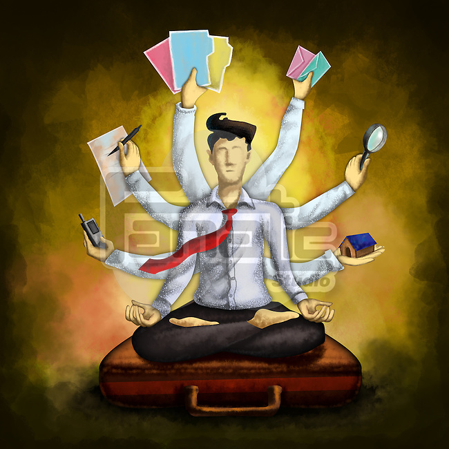 Businessman meditating while sitting in lotus position on briefcase with multiple hands holding various things over colored background depicting multi-tasking