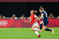 21st July 2021; Sapporo, Japan; Carla Guerrero 3 Chile defends against Kim Little 8 GBR during the womens Olympic Football Tournament Tokyo 2020 match between Great Britain and Chile at Sapporo Dome in Sapporo, Japan. Great Britain won the game by a score of 2-0