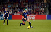 ORLANDO, FL - MARCH 05: Julie Ertz #8 of the United States moves with the ball during a game between England and USWNT at Exploria Stadium on March 05, 2020 in Orlando, Florida.
