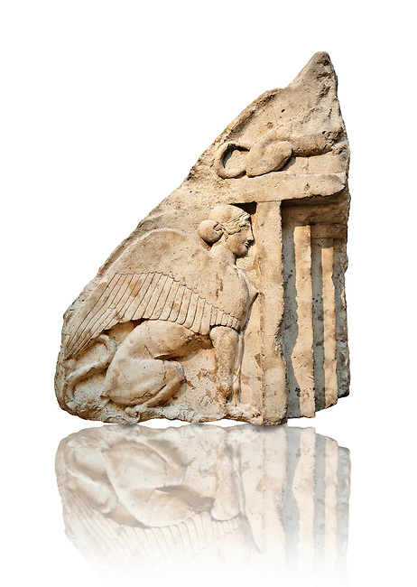 Guardian Sphinxes, part lion & part sphinx from the gable end of a vaulted Lycian sarcophagus from the Heros of the Acropolis (Building H Xanthos). The sphinx was linked to death and above each sphinx is a lion, a guardian of the dead.  From Xanthos, UNESCO World Heritage site, south west Turkey. A British Museum exhibit GR 1848-10-20-24-25 sculpture B 290.