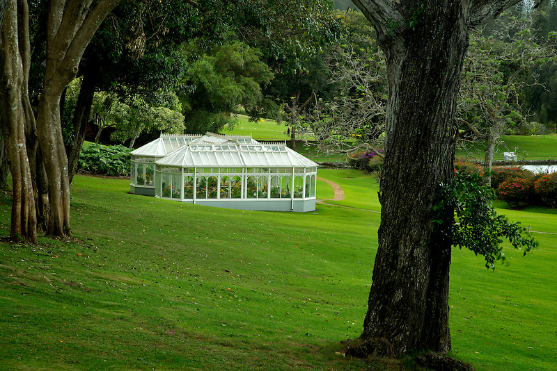 Orchid Greenhouse on grounds of Four Seasons hotel. Lanai, Hawaii