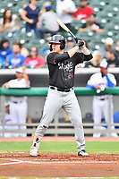 Birmingham Barons first baseman Gavin Sheets (24) awaits a pitch during a game against the Tennessee Smokies at Smokies Stadium on May 15, 2019 in Kodak, Tennessee. The Smokies defeated the Barons 7-3. (Tony Farlow/Four Seam Images)