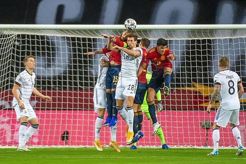 17th November 2020;  Estadio La Cartuja de Sevilla, Seville, Spain; UEFA Nations League Football, Spain versus Germany;   Leon Goretzka ger challenged by Sergio Ramos esp