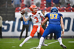FRISCO, TX - MAY 16: Eric Schmid #3 of the Sam Houston State Bearkats throws the ball against the South Dakota State Jackrabbits during the Division I FCS Football Championship held at Toyota Stadium on May 16, 2021 in Frisco, Texas. (Photo by Andy Hancock/NCAA Photos)