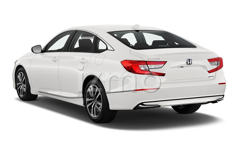 Car pictures of rear three quarter view of 2021 Honda Accord-Hybrid EX-L 4 Door Sedan Angular Rear