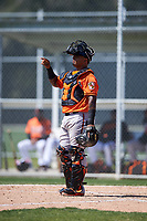 Baltimore Orioles catcher Yermin Mercedes (66) during a minor league Spring Training game against the Boston Red Sox on March 16, 2017 at the Buck O'Neil Baseball Complex in Sarasota, Florida.  (Mike Janes/Four Seam Images)