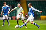 Celtic v St Johnstone...30.10.12      Scottish Communities Cup.Dave Mackay is closed down by Scott Brown.Picture by Graeme Hart..Copyright Perthshire Picture Agency.Tel: 01738 623350  Mobile: 07990 594431