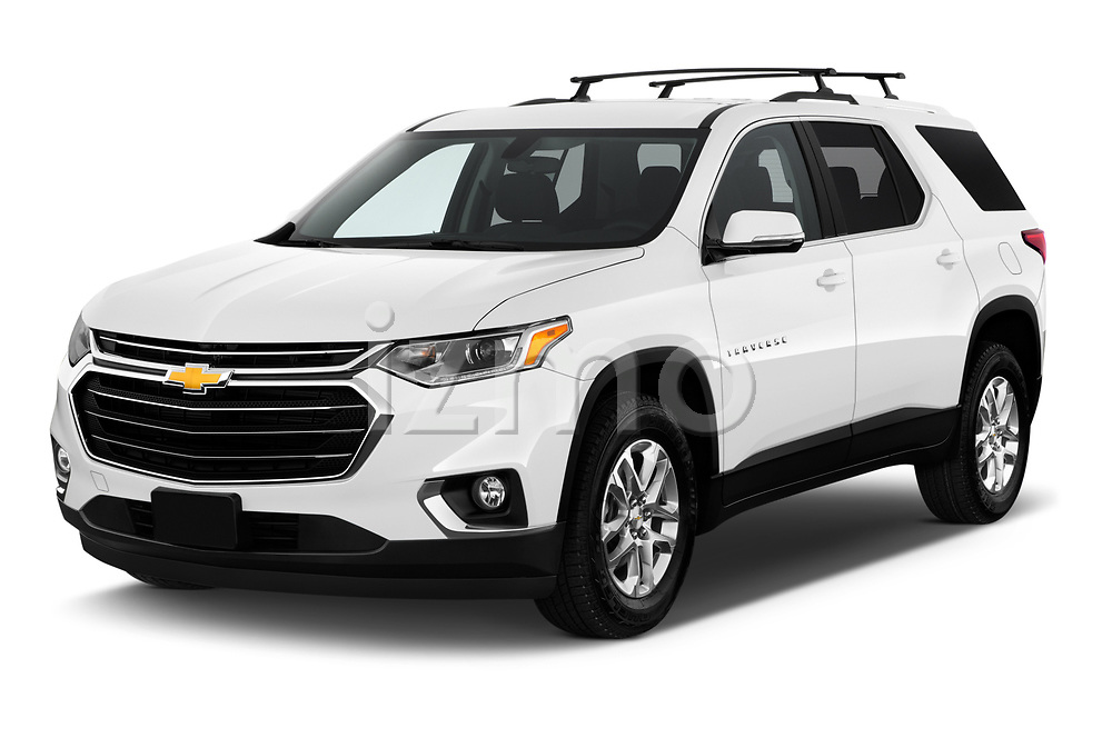 2018 Chevrolet Traverse 1LT 5 Door SUV angular front stock photos of front three quarter view