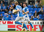 St Johnstone v Celtic…20.08.16..  McDiarmid Park  SPFL<br />Danny Swanson celebrates his penalty with Liam Craig<br />Picture by Graeme Hart.<br />Copyright Perthshire Picture Agency<br />Tel: 01738 623350  Mobile: 07990 594431